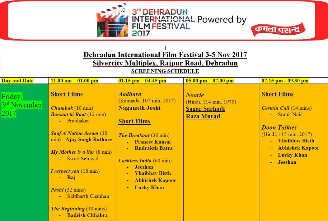 FILM SCREENING SCHEDULE 2017 – Dehradun International Film